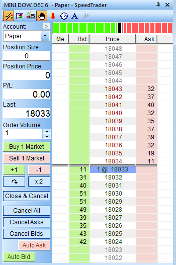 NanoTrader order book (speedtrader) for the mini DOW future. Tick-by-tick quotes are displayed.
